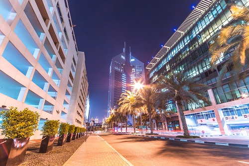 Beautiful evening atmosphere in downtown Dubai