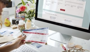 Woman booking ticket online